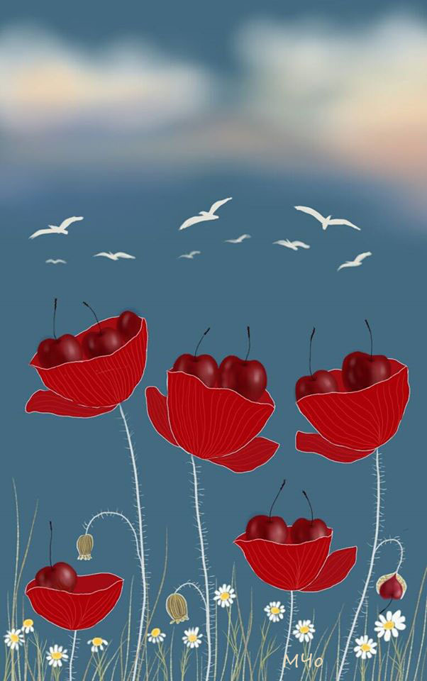 Poppies and cherries