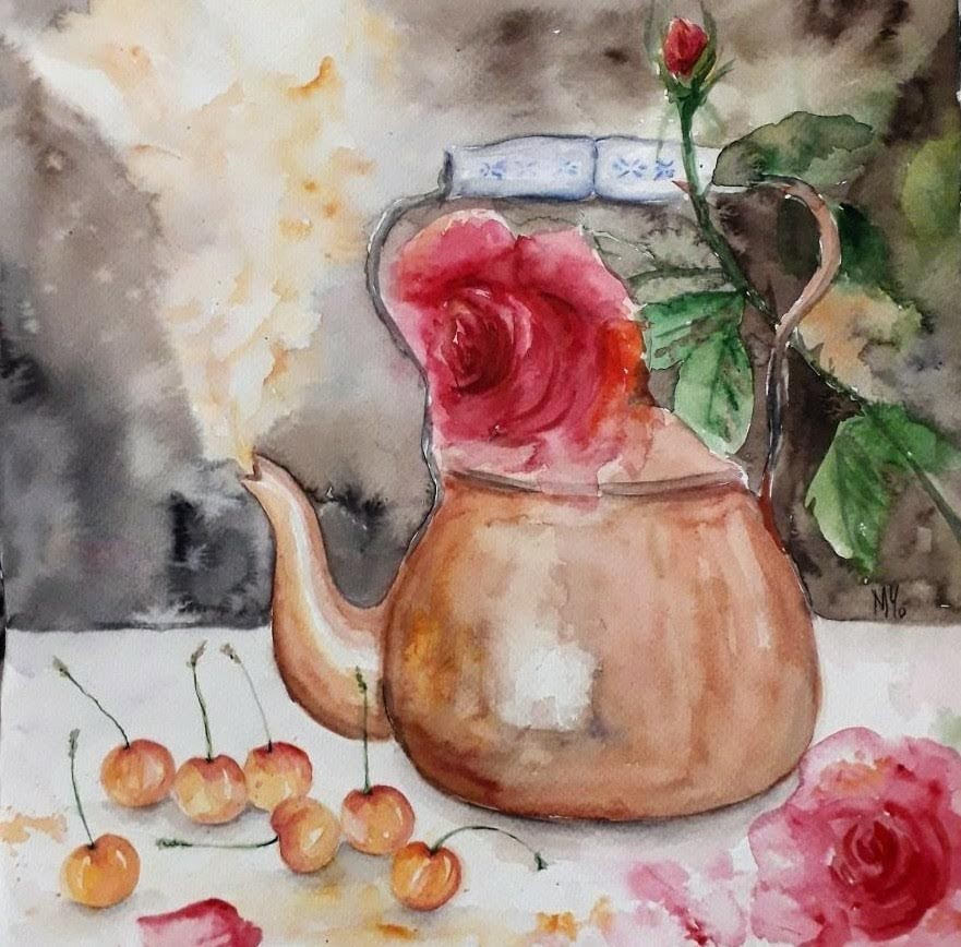 Roses, teapot and cherries