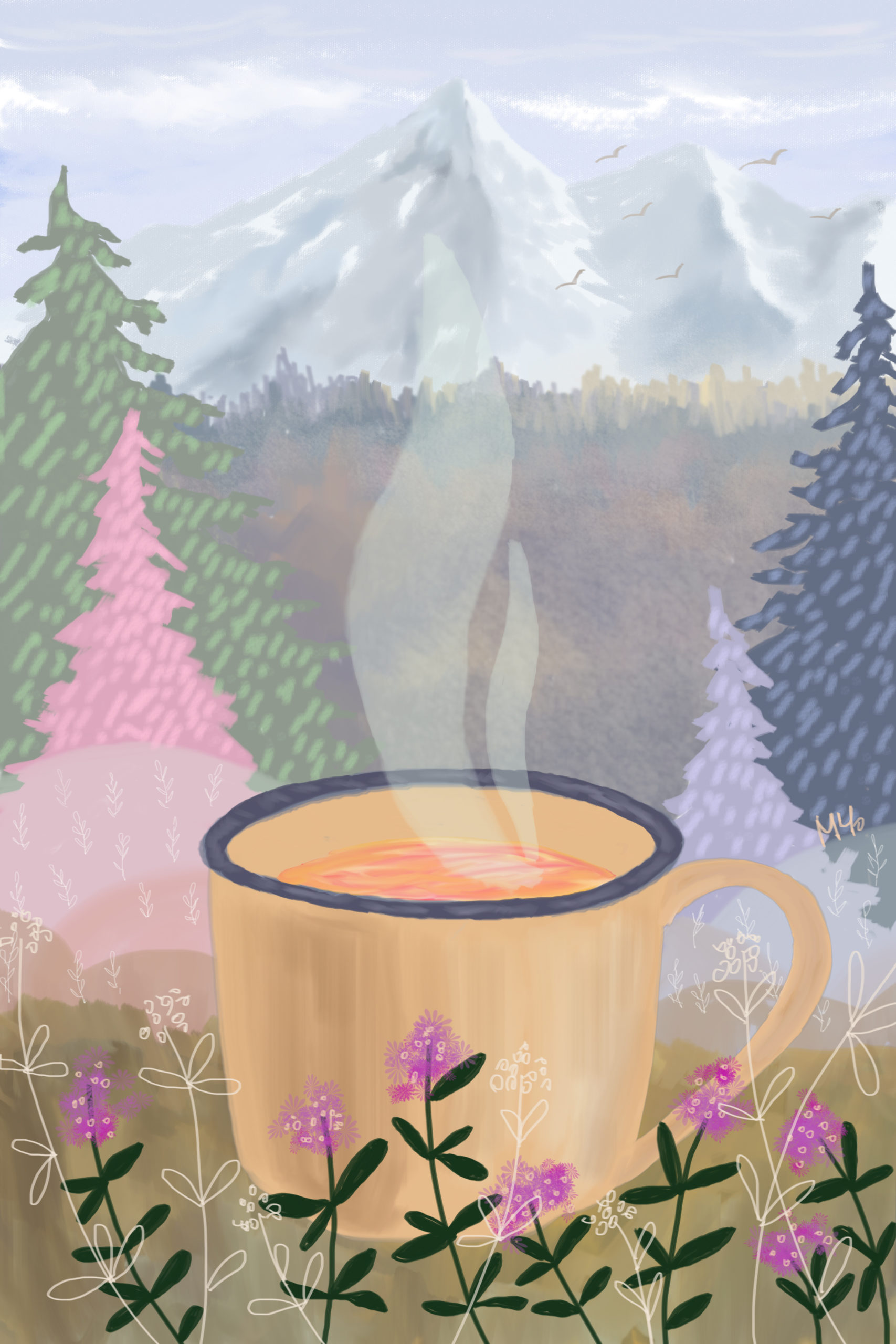 Cup of tea in the mountain